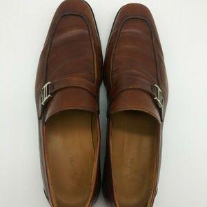 Magnanni Brown Horsebit Strap Apron Toe Loafer 9.5